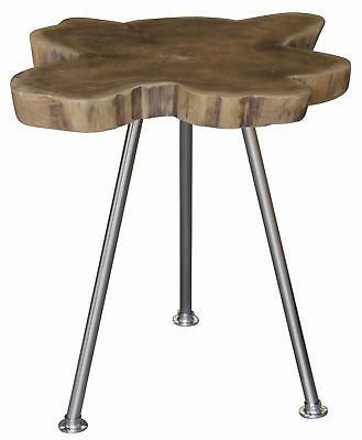NEW Recycle Timber Lamp Table with Stainless Steel Leg