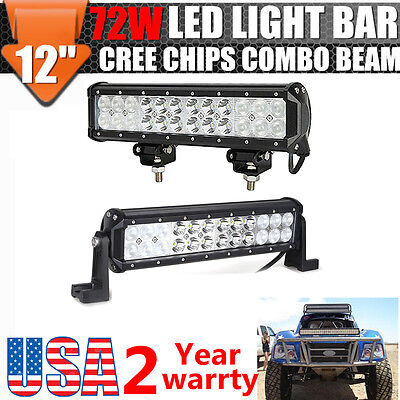 2X 12 Inch 72W Led Light Bar Work Spot Flood Combo Lamp Offroad Suv Atv 4Wd