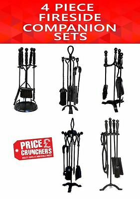 Black Fire Companion Set Fireside Shovel Brush Tongs Poker Fireplace Tidy Tools