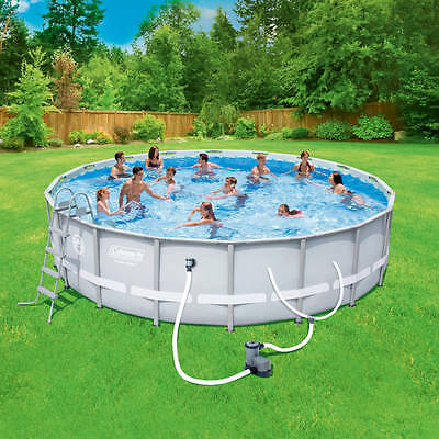 """Coleman 18' x 48"""" Power Steel Frame Above-Ground Swimming Pool Set"""