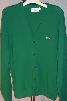 Vintage 70s IZOD LACOSTE Mens Size L Cardigan Sweater Spool Label Kelly Green