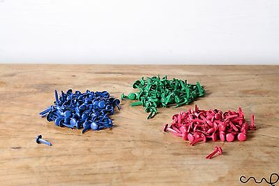 100 x Colour Paper Fasteners Green Pink Blue Split Pins Binding Office VAT