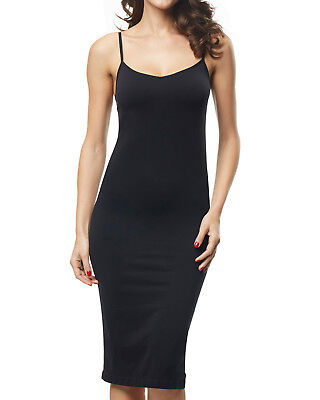 Women's Smooth Chemise Long Slip Sleepwear Basic Full Slip Under Dress Shapewear