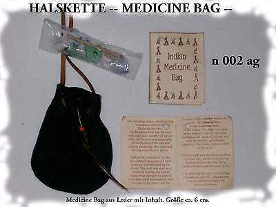 5 INDIAN MEDICINE BAG LEATHER NECKLACES WELLBEING HEALING HANDMADE BNIP / n002