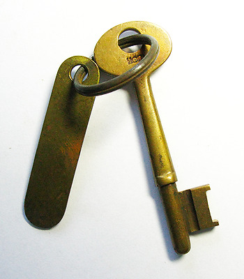 GENUINE WWII Era Brass Tag Antique Ship Skeleton Key - Navy Old - More Rare Here