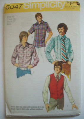 1970's Men's vest and shirts pattern 5047 size 46 unused