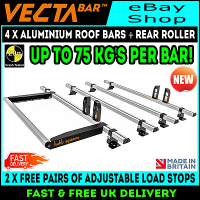 Guard Stops Renault Traffic 2001-2014 H1 Low Roof 2 Vecta Ladder Roof Rack Bars
