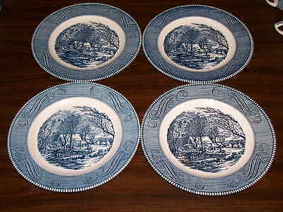 "Set of 4 Royal China Blue CURRIER & IVES Pattern 10"" Dinner Plates"