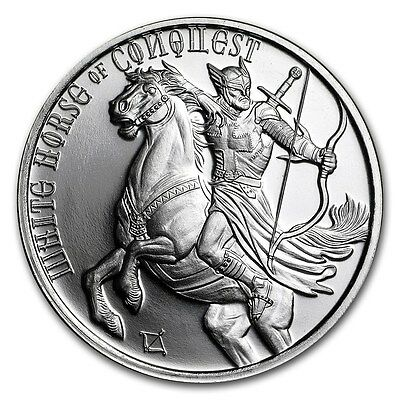 Four Horseman Of The Apocalypse Series - White Horse Of Conquest BU Silver Round