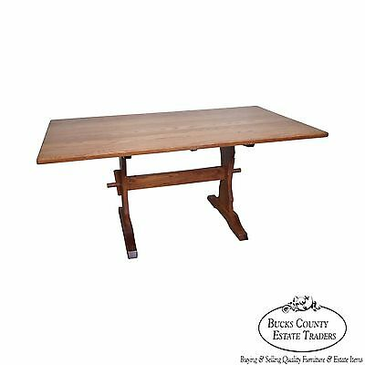 Solid Oak Trestle Base Dining Table by Hunt Country Furniture