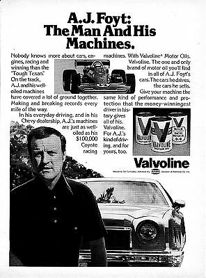 1976 AJ Foyt -Coyote Racing $100,000 Car Valvoline MotorOil-Original Magazine Ad