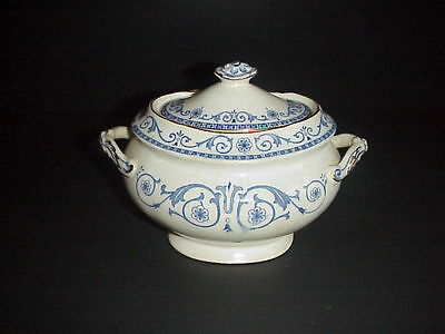 Burgess & Leigh Middleport Pottery Covered Sugar Bowl C.1912 Flow Blue