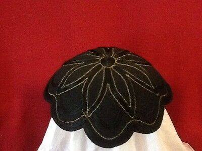 Vintage Skull Cap Woman's Black Felt and Satin Ribbon