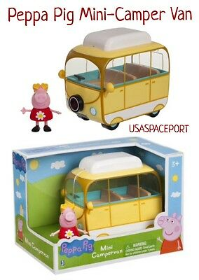 RARE New PEPPA PIG MINI CAMPERVAN Little Yellow Camper Van +Figure KIDS GIFT SET