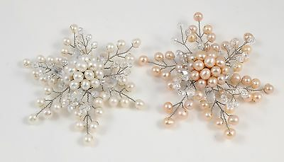 Fine White or Pink Freshwater Pearl & Crystal Snowflake Brooch
