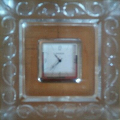 """New Waterford Marquis Arabesque Seiko Clock Desk Table Mantel Lead Crystal 3.75"""""""