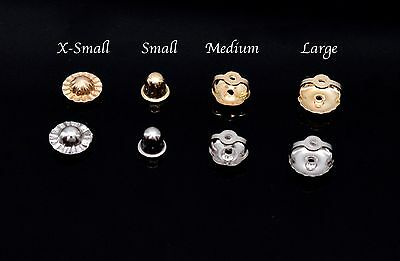 14K Solid White & Yellow Gold Screw Back Earring Nut Replacement Single Findings