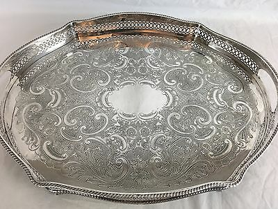 Pierced and Engraved English Silverplate Gallery Tray Circa 1920 Claw Ball Feet