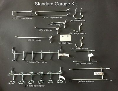 "128 Piece Standard Garage Peg Kit. Display Tool Holders Fits 1/8 & 1/4"" Pegboard"
