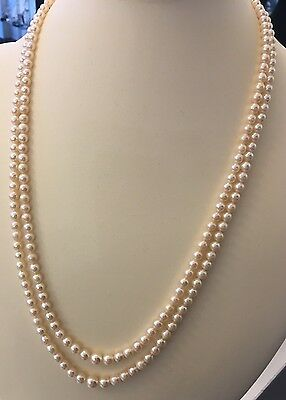 Vintage Long Double 2 Row Graduated Cultured Saltwater Akoya Pearl Necklace
