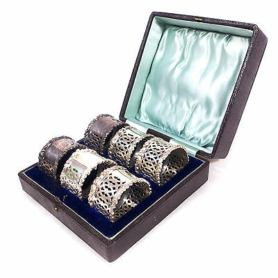 Set of 6 Antique Victorian Silverplated EPNS Dining Napkin Cuffs Rings w/ Case