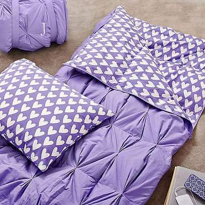 Pottery Barn Teen Pintuck Sleeping Bag + 1 Pillowcase Purple Sweethearts New