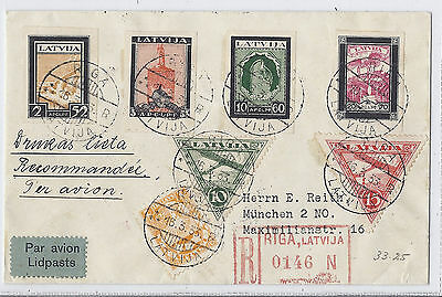 March 16 1933 Latvia Registered Cover CB14a-CB17a C3 C4 138 - to Munich Germany*