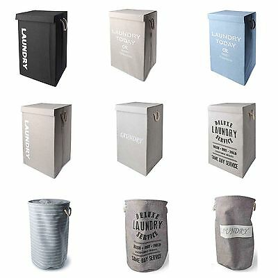 Round & Rectangular Laundry Linen Basket Bin Washing Clothes Storage With Lid