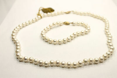 Lustrous White  Pearl 18 inch Necklace & 7 inch Bracelet with 14K Yellow Gold