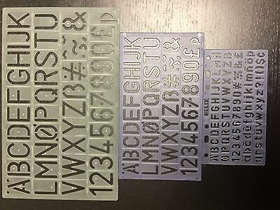 SET OF 3 10mm, 20mm & 30mm  ENGLISH ALPHABET STENCILS LETTERS NUMBERS STENCIL