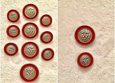 10 IL Leone Silver & Red Enamel Lion Face Head Metal Buttons