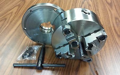 "8"" 4-Jaw Self-Centering  Lathe Chuck top&bottom jaws w. L00 adapter plate-new"