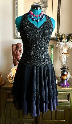 VTG Cocktail Dress Beaded Corset Flapper Gatsby Steampunk Goth S/XS 20s Costume