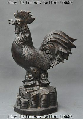 """28""""chinese bronze fengshui wealth money coin yuanbao Cock Rooster Chicken statue"""