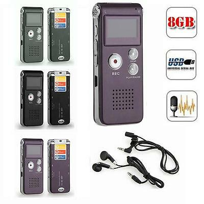Rechargeable 8GB Digital Audio/Sound/Voice Recorder Dictaphone MP3 Player yuus