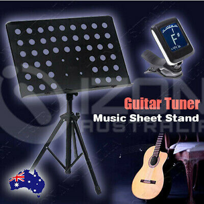 Chromatic Guitar Tuner And Heavy Duty  Music Sheet Stand Adjustable Folding AU