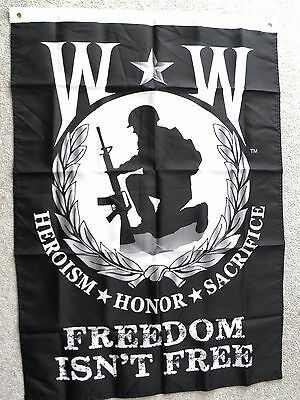 """Wounded Warrior Heroism Honor Sacrifice Polyester Banner Flag 29 X 42"""""""