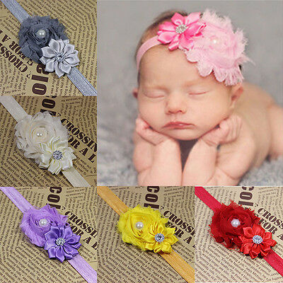 Newborn Kids Girl Baby Chiffon Toddler Flower Bow Headband Hair Band Headwear