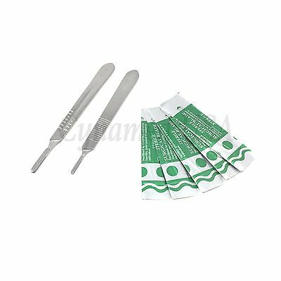 2 Assorted Scalpel Knife Handles #3 #4 +50 Surgical Carbon Steel Blades #15 #22