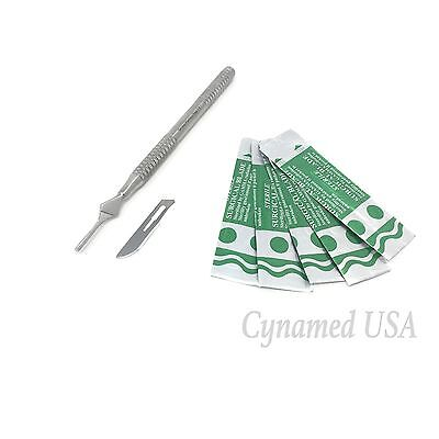 O.r Grade Aesthetic German Stainless Round Scalpel Handle #3 + 20 Blades #10 #15