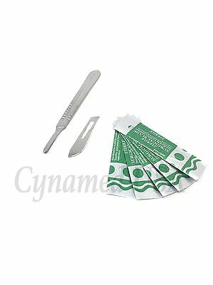 10 Sterile Surgical Blades #22 With Free Scalpel Knife Handle #4