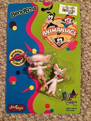 Vintage Animaniacs Pinky And The Brain Bend-em Figure Just Toys Sealed NEW! 1994