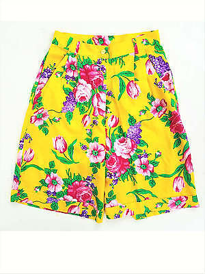 Vintage Ultra Floral Shorts ~ Vintage 1980s High Waist Yellow Roses Pink Bright