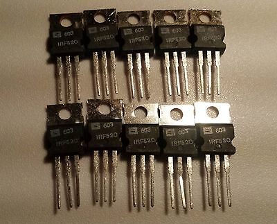 10pcs IRF520 Power MOSFET 100V 9A