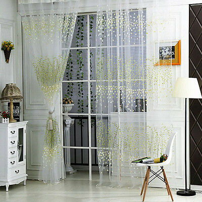 Fashion Tulle Door Window Floral Curtain Drape Panel Voile Valances Scarf Sheers