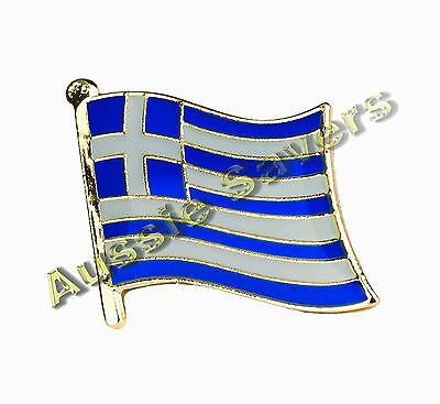 Greece (Greek) Flag Hat Pin / Badge - Brand New