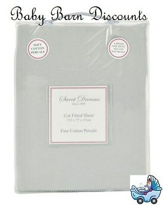 NEW Sweet Dreams - Cot Fitted Sheet - Grey from Baby Barn Discounts