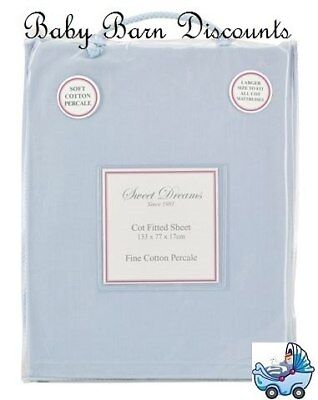NEW Sweet Dreams - Cot Fitted Sheet - Blue from Baby Barn Discounts