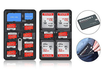 DIGIANT Memory Card Storage Case Lightweight Card Holder SD Card Carrying Box Su