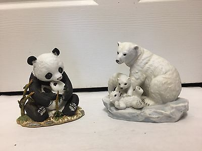 Set Of 2 Collectible Masterpiece Porcelain Homco Polar Bears And Panda, 019-I